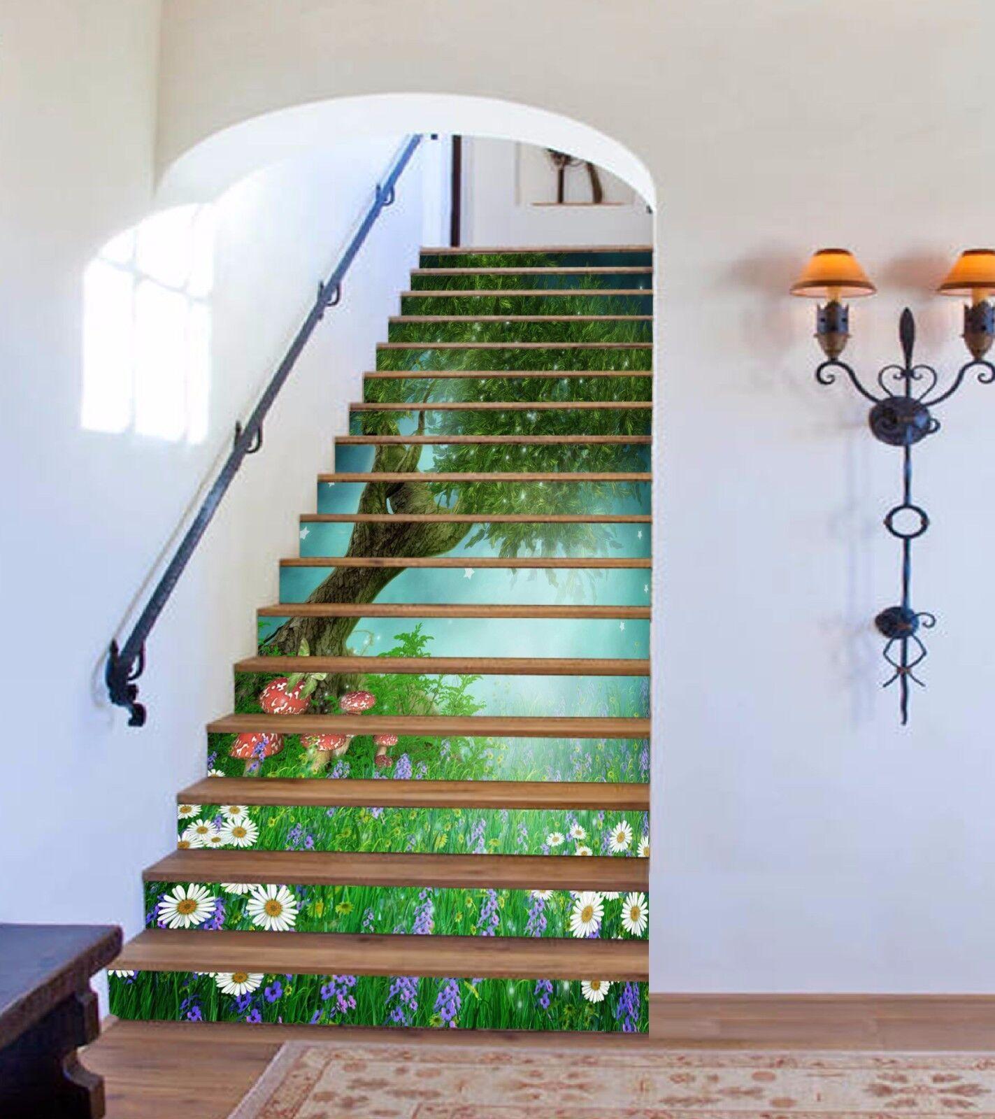 3D Grün Woods 669 Stair Risers Decoration Photo Mural Vinyl Decal Wallpaper UK