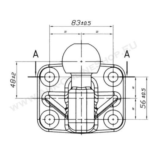 Gancio di traino sfera palla flangiata rimorchio ISO 50mm 4 fori 83x56
