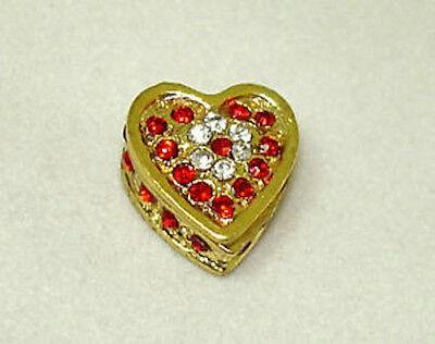 Dollhouse Opening Ruby Rhinestone Heart Jewelry Box 1:12 Doll House Miniatures