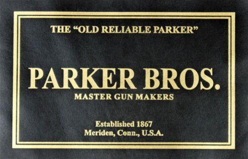 SHOTGUN PRESENTATION CUSTOM CASE LEATHER TRADE LABEL for PARKER BROTHERS BROS
