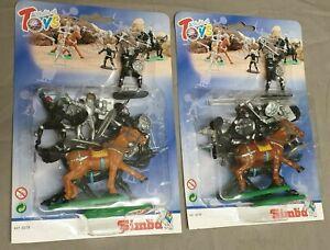 2-Pack-Ritter-Kunststoff-Figuren-inkl-Pferde-von-Simba-Vintage-Knights-Moc-Ovp