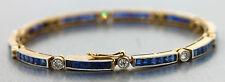 Art Deco 1930s 18K 750 Yellow Gold Blue Sapphire Diamond Tennis Bracelet