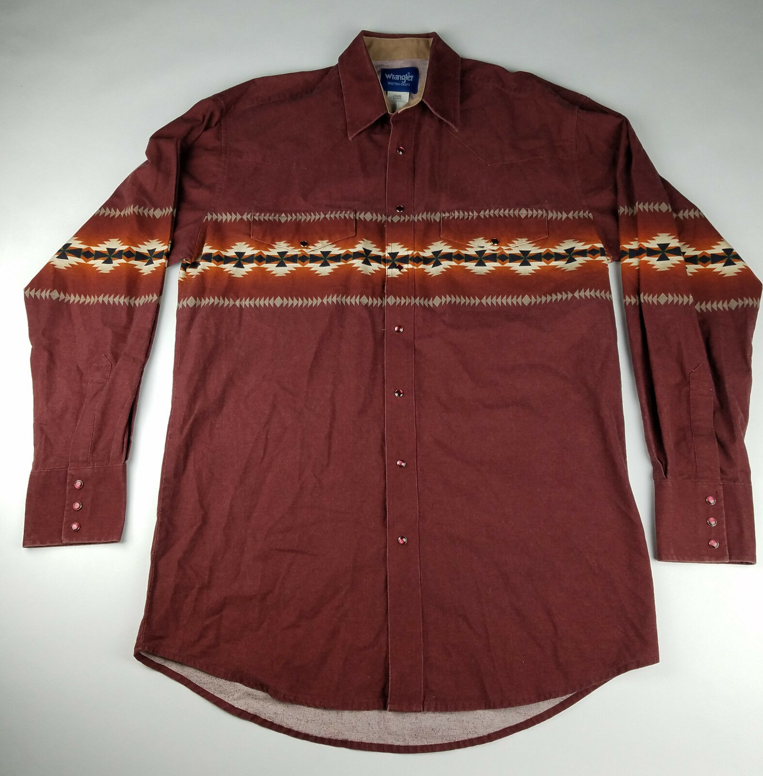 Wrangler Mens Aztec Western Red Long Sleeve Pearl Snap Shirt - Size Large