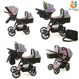 Details About Twin Pram 3in1 Pushchair Double Buggy Twins Car Seats Duet 10 Colours Freebies