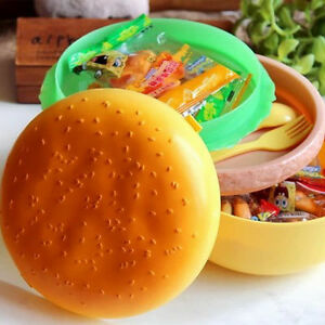 Children-Hamburger-Bento-Lunch-Box-Food-Container-Storage-with-Spoon-Fork-AA