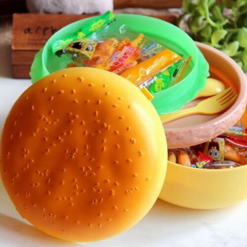 Children Hamburger Bento Lunch Box Food Container Storage with Spoon Fork XI