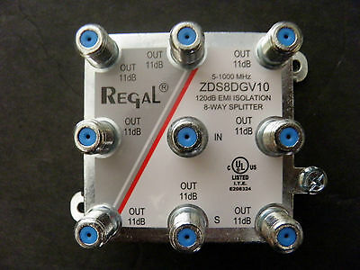 Regal 8 Way Splitter ZDS8DGv10 NEW Coaxial Cable TV HDTV Digital