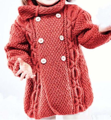 Girls Cable Coat-Fits 6-18 months Charted Experienced knitter Knitting Pattern