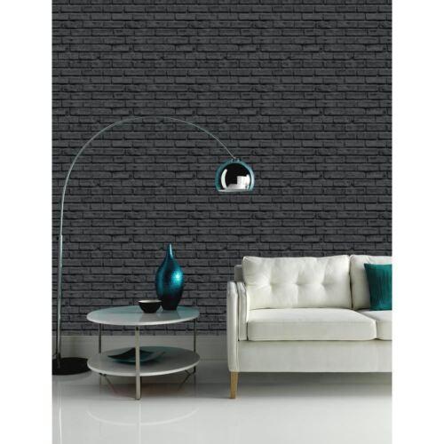 Nouveau art /& essai VIP noir motif mur de Brique Effet Pierre Motif papier peint murale