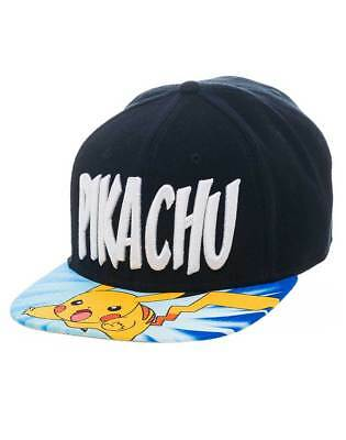 OFFICIAL POKEMON - PIKACHU TEXT BLACK SNAPBACK CAP WITH PRINTED VISOR (NEW)
