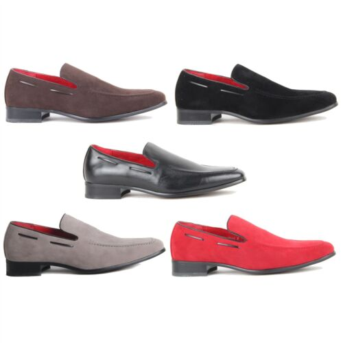Leather Lined Party Footwear Men Suede Shoes Slip On Heavy Stitched Loafer
