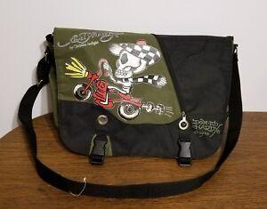 Ed-Hardy-Christian-Audigier-Skull-Bike-Rider-Tote-Messenger-Shoulder-Bag-Khaki