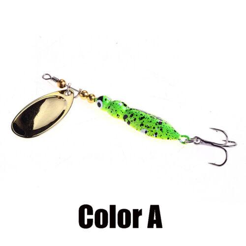 Green Metal Sequins Durable Fishing Lure Crank Bait Spoon Spinner Treble Hook