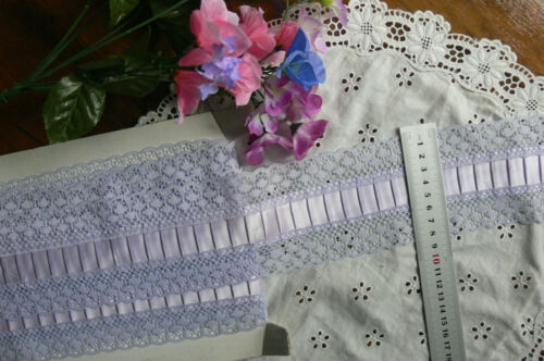 Pleated SATIN Centre LACE 80mm Wide 3 /& 4 Metre Lengths 2 Colour Choice Flt1