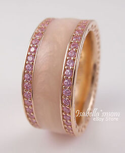 e6085ce6a54fe Details about HEARTS OF PANDORA Rose GOLD Plated/Pink CZ/Cream ENAMEL Wide  Band Ring 6/52 NEW