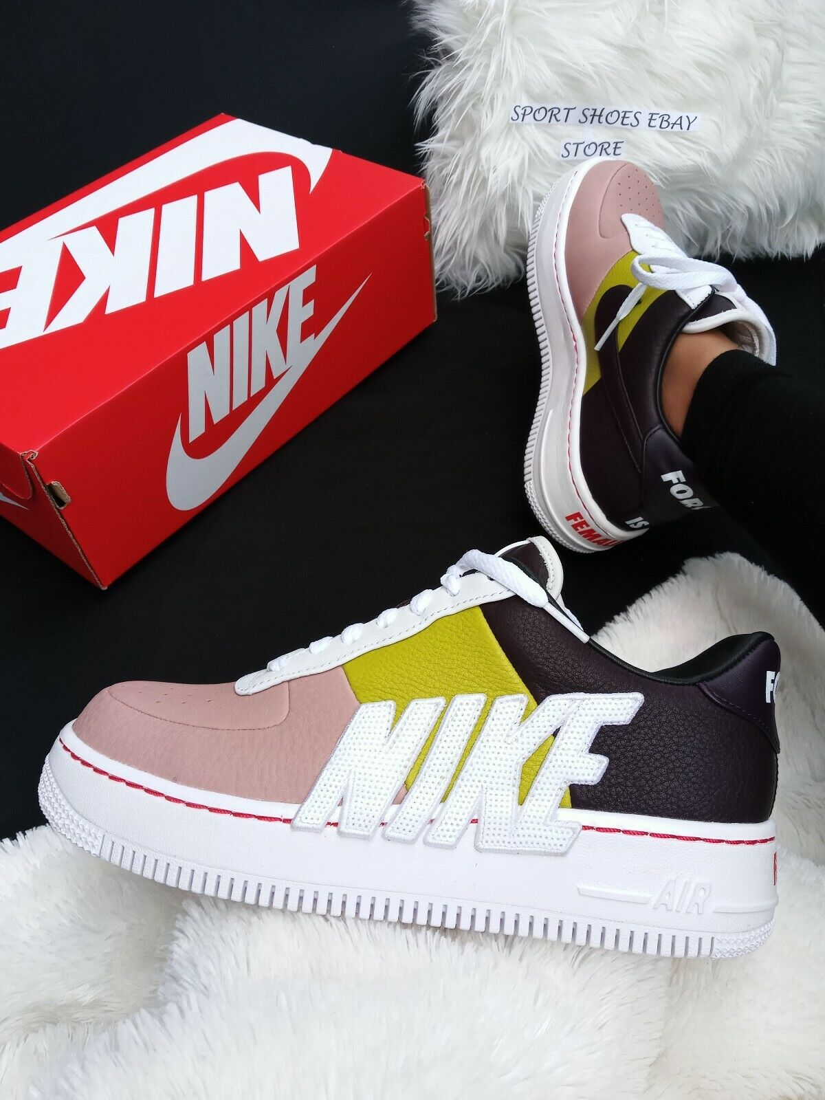 SIZE 10.5 WOMEN'S FEMALE Nike AF 1 Upstep LX WINE CACTUS 898421-602 SNEAKERS