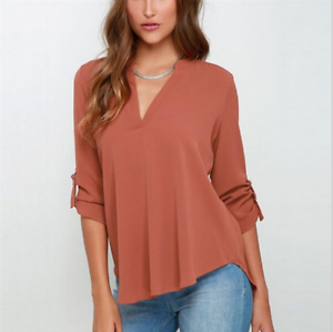Summer-Women-039-s-Loose-V-Neck-Chiffon-Long-Sleeve-Blouse-Casual-Chiffon-Shirt-Tops