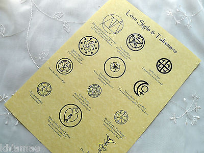 LOVE SIGILS PARCHMENT POSTER wicca pagan print book of shadows pages BOS