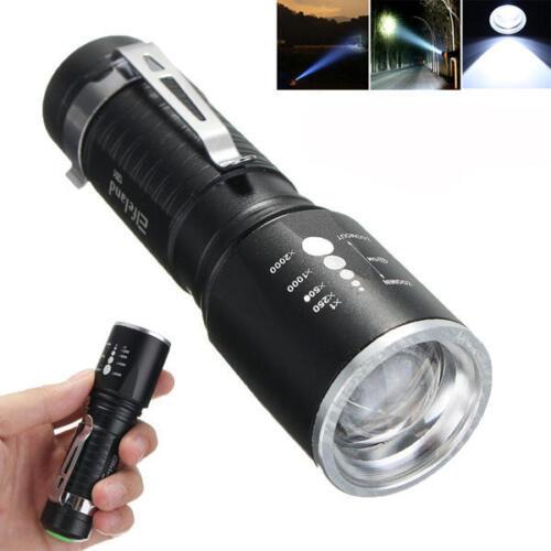 Elfeland 1201 T6 2000LM 5modes Zoomable LED Flashlight 18650//AAA Black