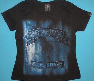 NEW womens shirt Bon Jovi /'Slippery When Wet/' Girlie T shirt
