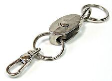 """INDUSTRIAL PULLEY 5-1/2 inch Keyring Belt Loop Snap Clasp Two 1-1/4"""" Split Rings"""