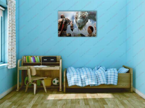 God Of War Kratos Meets Jörmungandr Game Poster Canvas Print Art Decor Wall