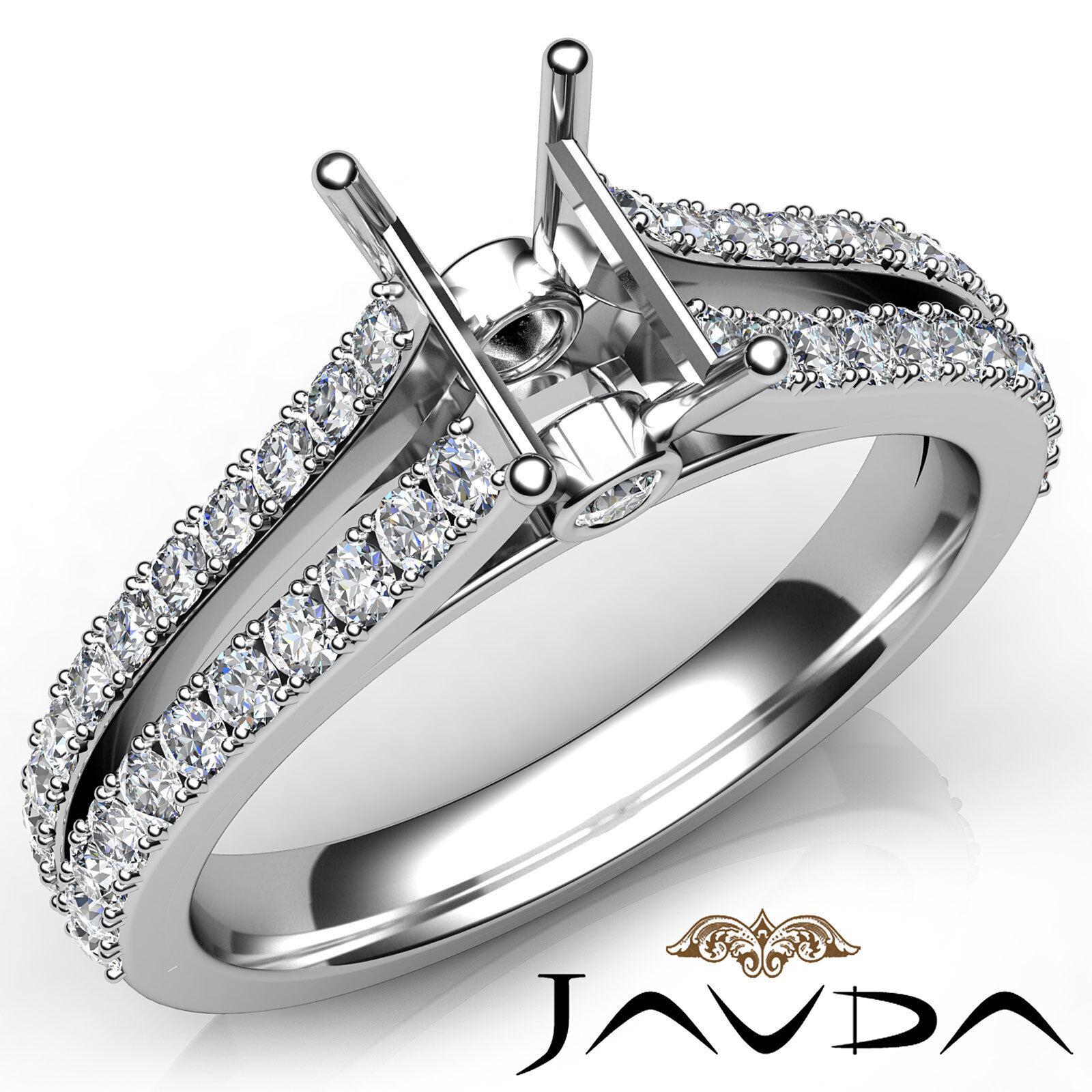 Emerald Diamond Engagement Split Shank Setting Semi Mount Ring Platinum 0.65Ct