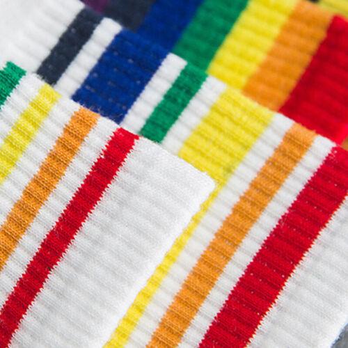Fashion Unisex Cotton Rainbow Striped Socks Sport Ankle High Sock Casual Hosiery
