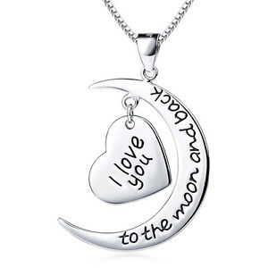 226980b3ce I Love You To The Moon Back Real 925 Sterling Silver Moon&Heart ...