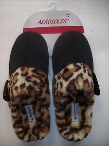 Aerosoles-Slippers-Womens-Animal-Print-Plush-Suede-Slip-On-Backles-Cushioned-NWT