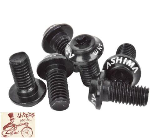 ASHIMA ALLOY TORX M5 X 10 BLACK BRAKE ROTOR BOLTS--PACK OF 6