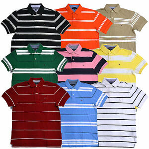 060000da Tommy Hilfiger Polo Shirt Mens Striped Knit Mesh Top Classic Fit ...