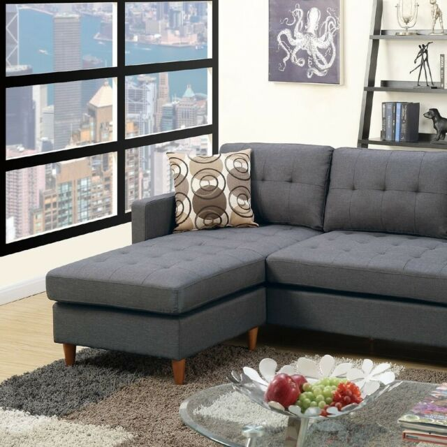 Lovely Classic Modern Sectional Sofa Set Reversible Chaise Tufted Couch  Pillows