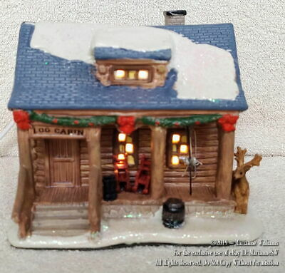 NEW Lighted HOUSE CHRISTMAS VILLAGE SNOWY RUSTIC LOG CABIN ...