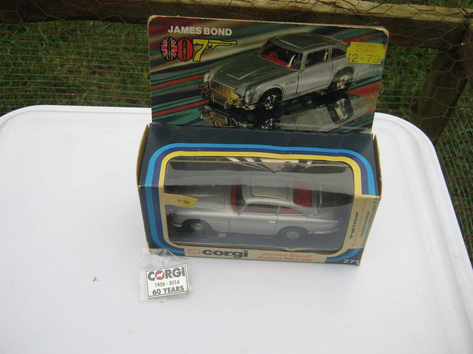 CORGI 271 James Bond Aston Martin NICE  ORIGINAL VOITURE en Âge porté boîte d'origine  pas cher et de haute qualité