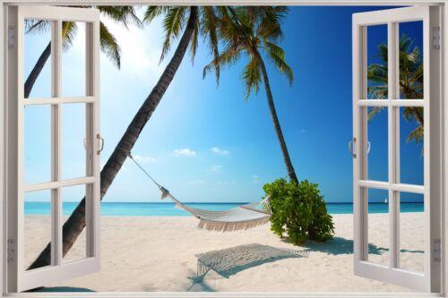 Huge 3D Window view Exotic Ocean Beach Wall Sticker Film Art Decal Wallpaper S46