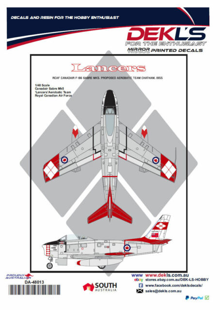 Decals Canadair Sabre - RCAF Lancers Aerobatic Team 1/48 Scale