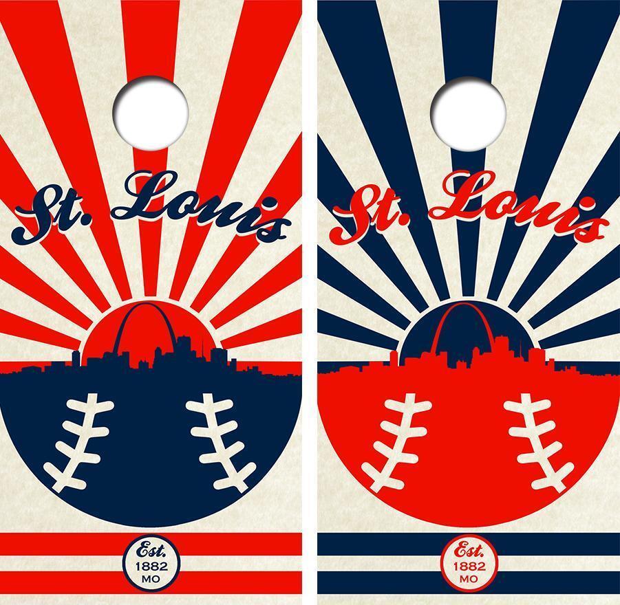 St Louis Baseball Cityscape Laminated Cornhole Board Skin Wrap FREE SQUEEGEE