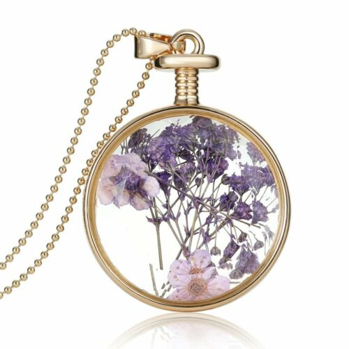 Round Glass Real Dried Flower Pendant Necklace Silver Long Chain Living Memory