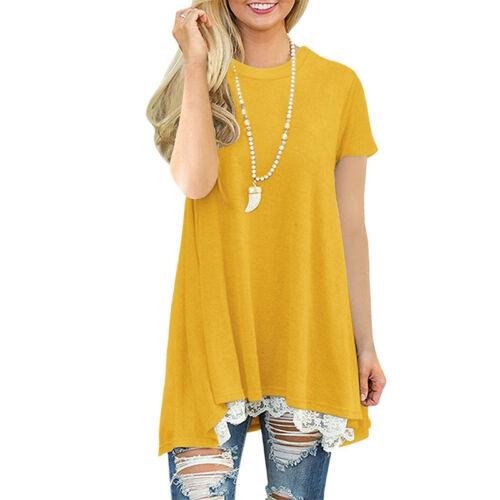DE Damen Schulterfrei Oberteil Spitze Blusen Hemdbluse T-Shirt Tunika Partei Top