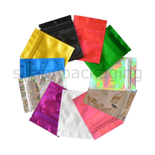 100 pcs Colorful Foil Zip lock Pouches Food Storage Zipper Bags Smell Proof Bags