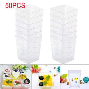 50x120ml-Clear-Dessert-Cups-Plastic-4oz-Mini-UK-Clear-Sample-Shot-Party-Decor