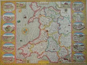 OLD-COPY-OF-JOHN-SPEED-1610-MAP-OF-WALES-WITH-CASTLE-AND-TOWNS-CARDIFF-RADNOR
