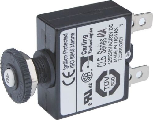 Blue Sea Systems Boat 7061 40A Push Button Thermal with Quick Connect Terminals