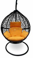 Outdoor Hanging Egg Chair - Black Basket With Yellow Cushions