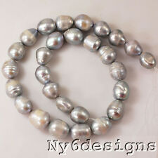 "12-16mm Silver Gray Freshwater Pearl Big Rice Beads 15"" (PE184)c for DIY Jewelry"