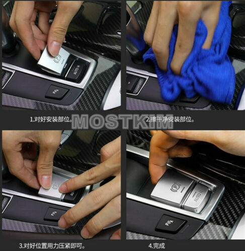 Inner Console Electronic Handbrake AUTO H Button Cover For BMW 7 Series F01 F02