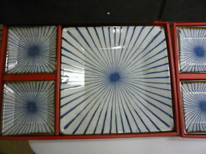New set of 2 Japan blue white stripes porcelain dinner plates with 2 side dishes