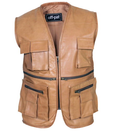 Mens Real Leather Gilet Biker Cut Waistcoat Vest  Hunting Most Sizes