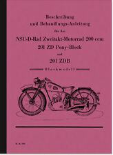 NSU 201 ZDB D-Rad Pony Block Bedienungsanleitung Beschreibung Nasenkolben Manual